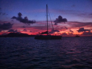 sailing grenadines sunset
